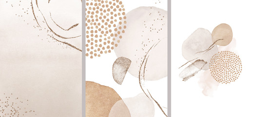 Obraz Blush, pink, ivory, beige watercolor Illustration and gold elements, on white background. Abstract modern print set. Logo. Wall art. Posters. - fototapety do salonu