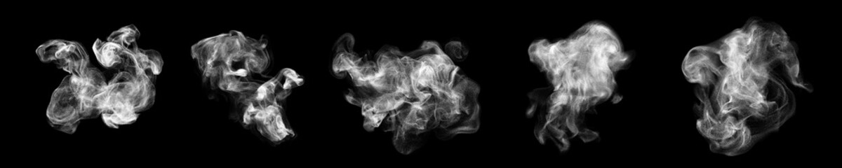 Smoke clouds, steam mist fog and white foggy vapor. 3D realistic smoke from dust particles isolated on black background