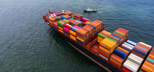 Container cargo ship  import export global business worldwide logistic and transportation,...