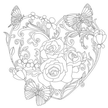 vintage floral heart with nice roses and butterflies for your co