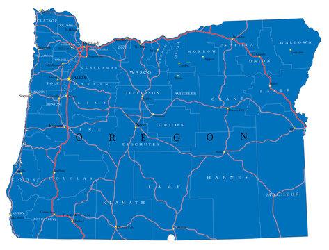 Oregon state political map