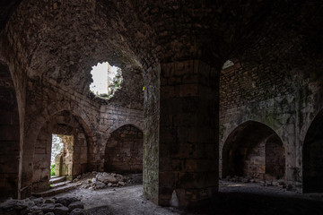 Fototapeta Krak de Chevaliers Crusader Castle damaged during Syria Civil War obraz