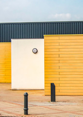 Modern architecture with yellow, black and white walls
