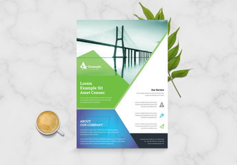 Abstract Blue Green Business Flyer Layout
