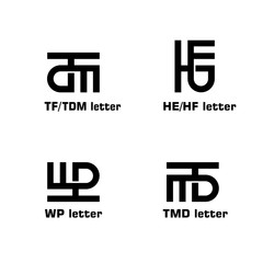 Fototapeta Initial letter TF, TDM. HE, HF, WP, TMD, MTB, graphic logo template, creative, simple, and minimal logo design concept, isolated on white background. obraz