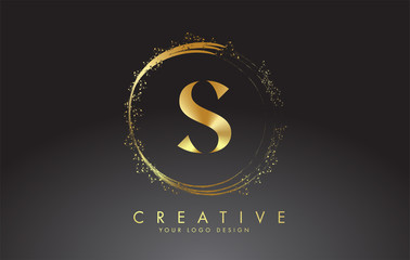 S golden letter logo with golden sparkling rings and dust glitter on a black background. Luxury decorative shiny vector illustration.