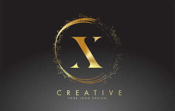 X golden letter logo with golden sparkling rings and dust glitter on a black background. Luxury decorative shiny vector illustration.