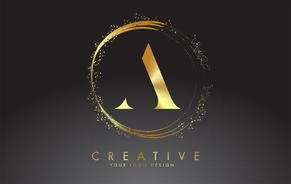 A golden letter logo with golden sparkling rings and dust glitter on a black background. Luxury decorative shiny vector illustration.