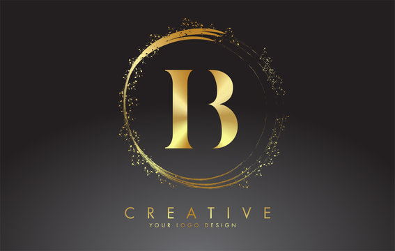 B golden letter logo with golden sparkling rings and dust glitter on a black background. Luxury decorative shiny vector illustration.