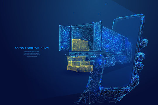 Polygonal 3d truck, parcels and smartphone in dark blue background. Online cargo delivery service, logistics or tracking app concept. Abstract vector illustration of online freight delivery service