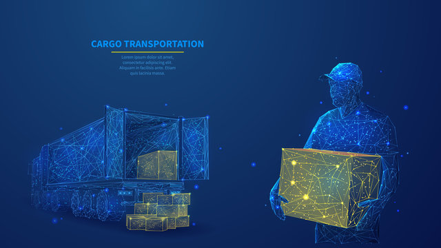 Delivery man with box standing in front of cargo truck in dark blue. Polygonal shipping cargo delivery, logistics, transportation or business commercial concept. Abstract wireframe vector illustration