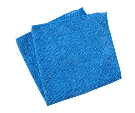 Blue microfiber cleaning towel isolated on white background, clipping path included
