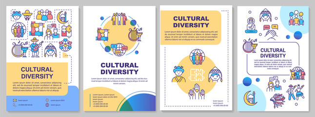 Fototapeta Cultural diversity brochure template. International community. Flyer, booklet, leaflet print, cover design with linear icons. Vector layouts for magazines, annual reports, advertising posters obraz