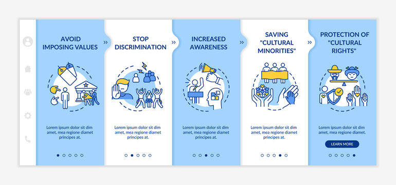 Stop discrimination onboarding vector template. Multi cultural value. Respect for race and ethnicity. Responsive mobile website with icons. Webpage walkthrough step screens. RGB color concept