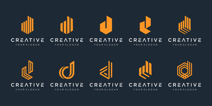 Set of creative letter d logo design template. icons for business of luxury, elegant, simple.