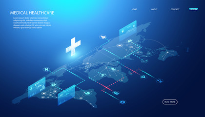 Abstract Online health & Medical Services concept Linking health information around the world To research and find ways to develop health innovations In the treatment of diseases, drugs, vaccines. Wall mural