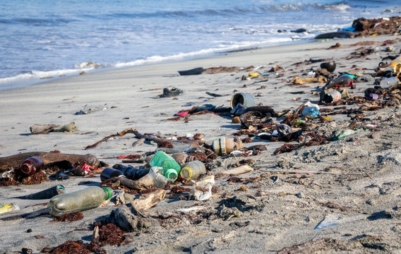 Waste and stranded goods at the beach