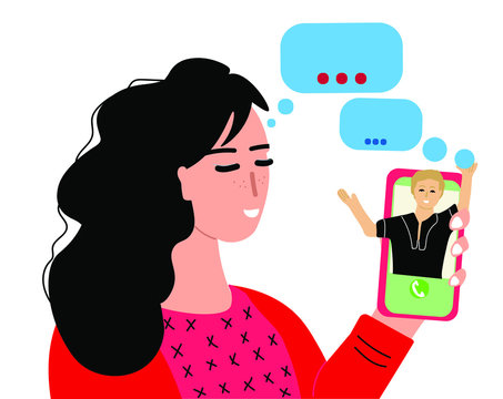Young cute woman calling on video to her friend. Video calling concept. Web-conference, video chat. Colleague meeting online. Virtual distance talking with partner. Hand drawn vector illustration