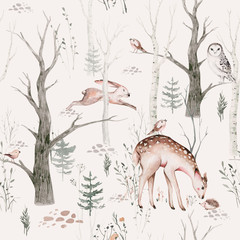 Watercolor Woodland animal Scandinavian seamless pattern. Fabric wallpaper background with Owl, hedgehog, fox and butterfly, rabbit forest squirrel and chipmunk, bear and bird baby animal, - 348627864