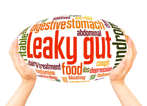 Leaky gut syndrome word hand sphere cloud concept