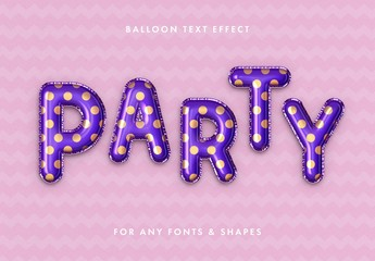 Party Foil Balloon Text Effect Mockup
