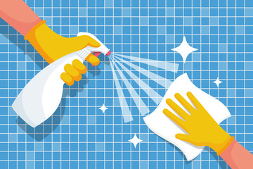 Cleaning shiny tiles in the bathroom. Spraying antibacterial sanitizing spray. Pollution prevention. Spray detergent. Napkin in hands. Protective rubber gloves. Hygiene home. Vector flat design.