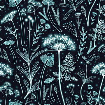 Seamless pattern with glowing neon flowers and mushrooms in space. Bioluminescent florals in the dark forest. Magic luminescent dark background.