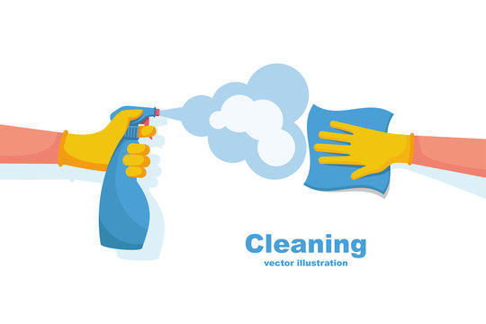 Surface cleaning in house. Cleaning with spray detergent. Spraying antibacterial sanitizing spray. Prevention coronavirus COVID-19. Napkin in the hands. Protective rubber gloves. Hygiene home vector.