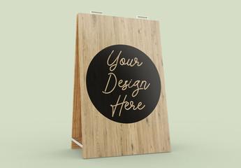 Wooden Advertising Board Mockup