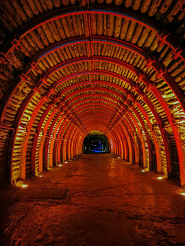 ZIPAQUIRA, COLOMBIA - NOVEMBER 12, 2019: Underground Salt Cathedral Zipaquira built within the tunnels from a mine 200 meters underground.