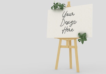 Wooden Easel Stand with Horizontal Painting Mockup