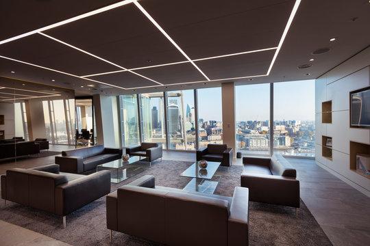 Modern urban highrise office lobby