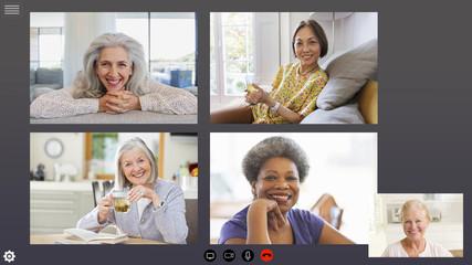 Senior women friends video conferencing during COVID-19 quarantine