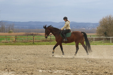 Recreation, girl riding mare