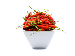 Fotobehang Hot chili peppers red hot chili peppers, isolated on white