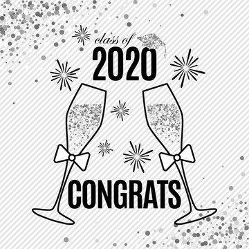 Grad greeting card 2020 class of with two glasses of champagne, hat and fireworks for invitation, banner, poster, postcard. Silver graduation template on stripe background. All isolated and layered