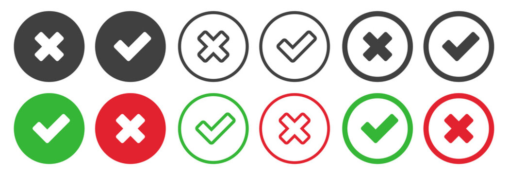 Checkmark icons set for web design. Accept v button, decline x cross button for Ui design. Flat buttons with red and green background. Answers for test questions with right and wrong options.
