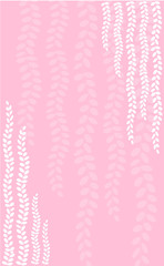 White strings of pearls plant print on pink background vertical banner