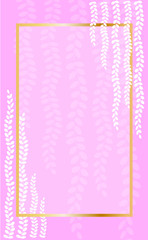 White strings of pearls plant print gold frame on pink background vertical banner