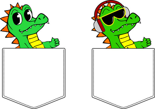 Crocodiles in Pockets for print. Vector template for design T-shirts. Fashion graphic for apparel. Character image alligator for children