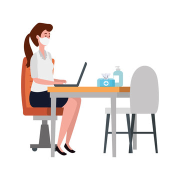 young woman using face mask in workplace vector illustration design