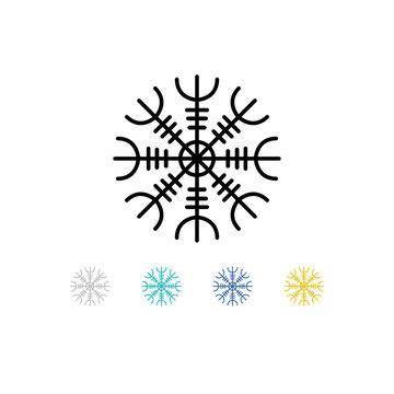 Aegishjalmur, Helm of awe helm of terror, Icelandic magical staves, isolated on white, vector illustration