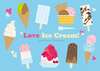 アイスクリームとかき氷のセット Wall mural