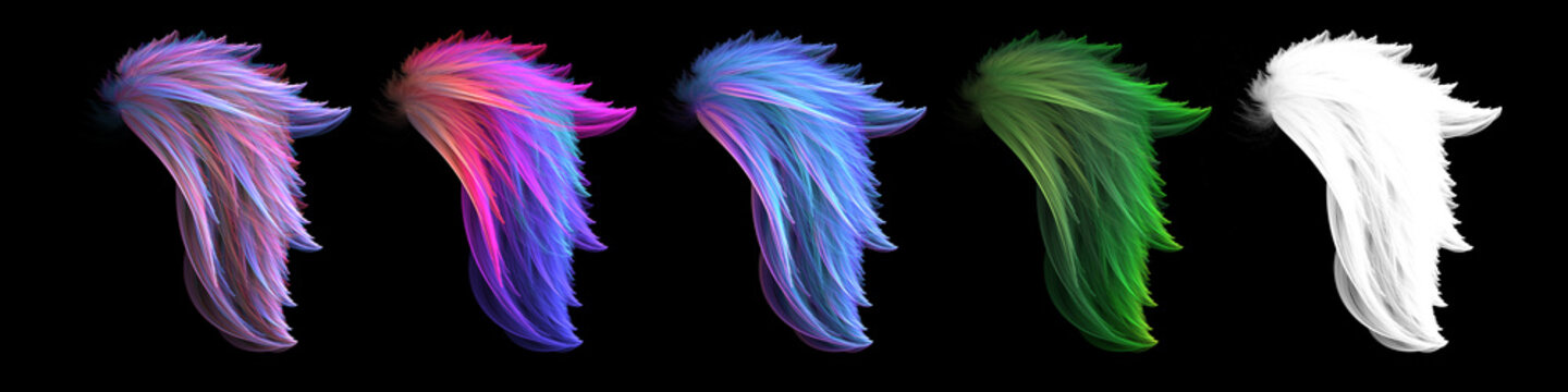 Mystical colorful smooth angel wings set