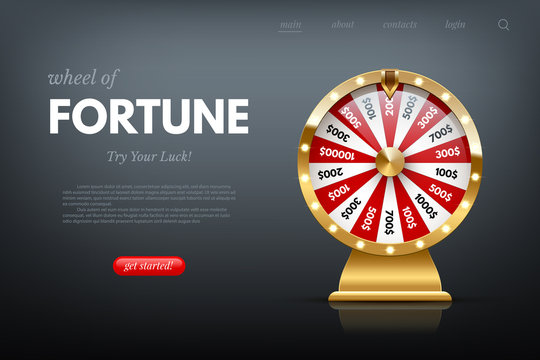 Casino fortune wheel sitepage template. Shiny lucky number wheeling roulette. Gambling industry, entertainment, hobby concept. Design for online poker room, website, mobile app.