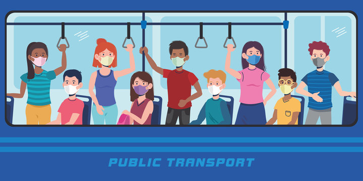 people with mask in the bus transport