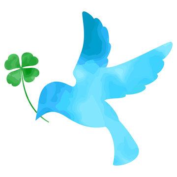 青い鳥 クローバー 水彩