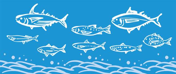 海、波、魚、水、大漁、大漁旗、筆、活気、寿司、海鮮、居酒屋、市場、書道、和風、和柄、日本、日本画、背景、イラスト、ベクター、パターン、テクスチャ、グラフィック、バックグラウンド、模様、和、風景、墨、大波、波しぶき、手書き、素材、新鮮、海産物、和風イメージ、和食、浮世絵、波柄、書、墨絵、文様、ウェーブ、波模様、漁、マグロ、鯛、カツオ、さんま、アジ、セット