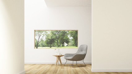 Wall Mural - The interior minimal hotel relax space 3d rendering and nature view background
