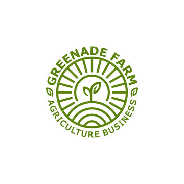 Agriculture, ecology, farm logo stamp template with leaf and nature vector illustration